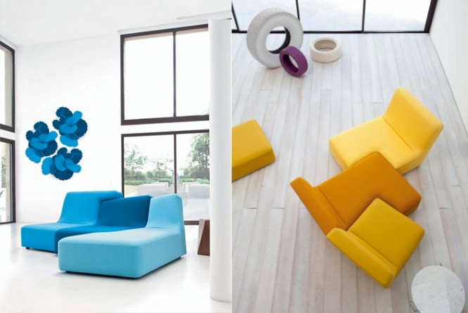 yello blue couches white living room
