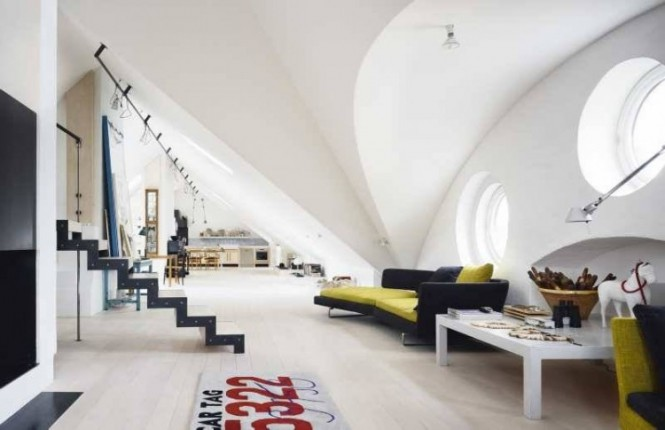 Sloped ceiling in open plan living spaces