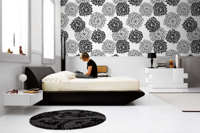 bedroom monochrome wall-mural-16