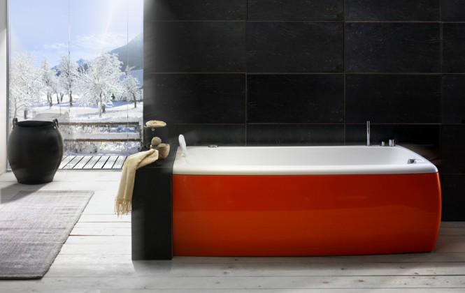red and white bathtub