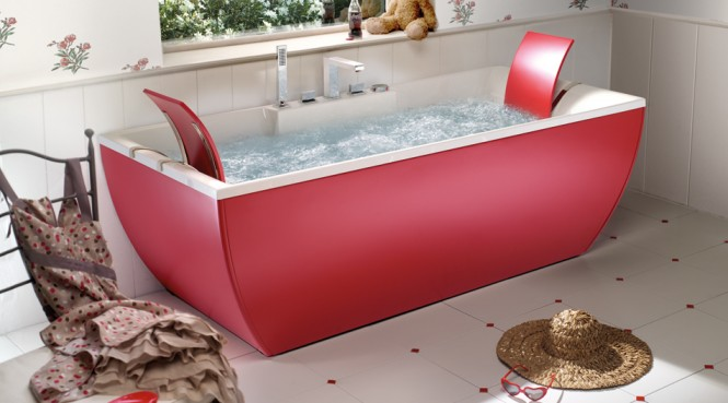 red bathtub