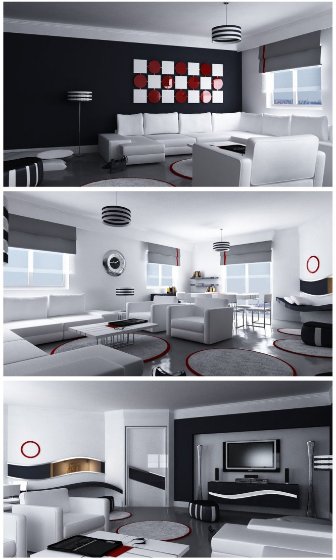 By Emra HozerAn Art Moderne great room with contrasting color schemes has strong dimension.