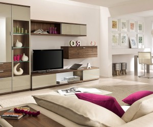 artful storage in modern beige living room