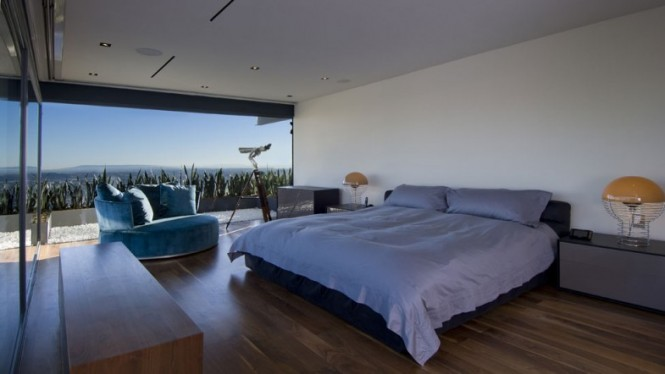 bedroom bears amazing views of Hollywood hills