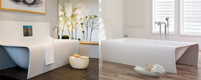 The Strip tub by Aquamass conjures images of waterfalls in a tropical paradise. It comes in freestanding or wall-mounted forms. [Via]