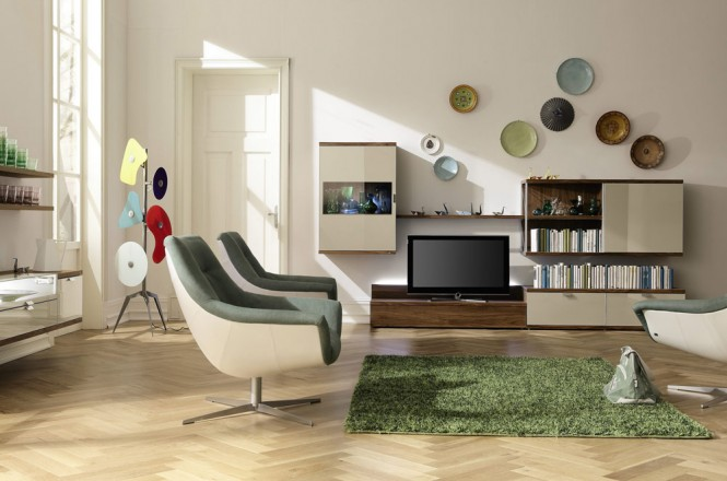 geometrical art enlivens living room