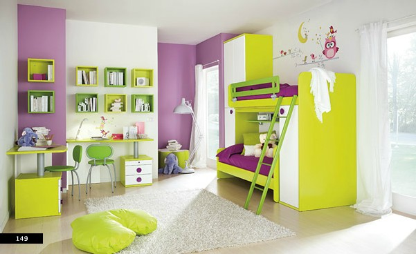 girls room with pastel primary colors