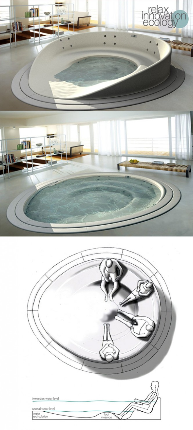 This glorious sunken bathing round with a built-in foot massage, known as the Shore Tub, is the result of a creative collaboration of the HeyTeam Collective and Teuco.[Via]
