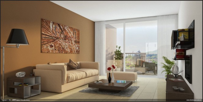 By Diego RealesRectilinear dcor in earthy tones simplifies this living room, while natural sunlight gives the otherwise neutral tones buoyancy.