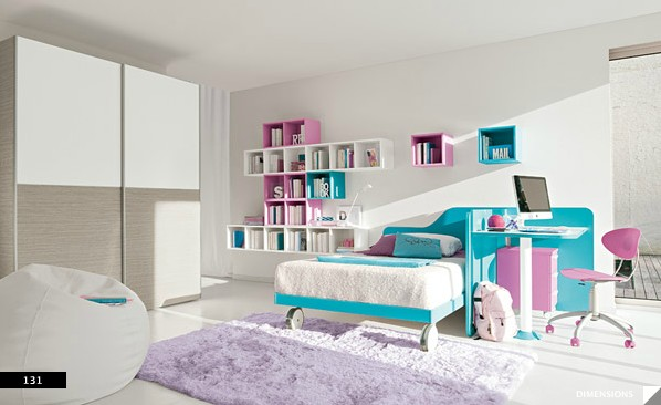 minimal furniture yields big in girls bedroom