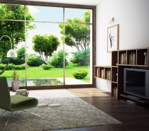 modern room with garden view
