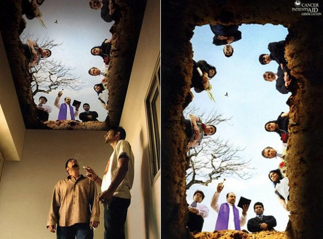 The burial scene should make any smoker think twice before puffing away! This was designed by the Indian firm, Everest Branding Solutions for client Cancer Patients Aid Association(CPAA).