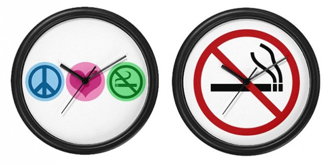 Clocks like these are another convenient space to put up that sign. Via Cafepress