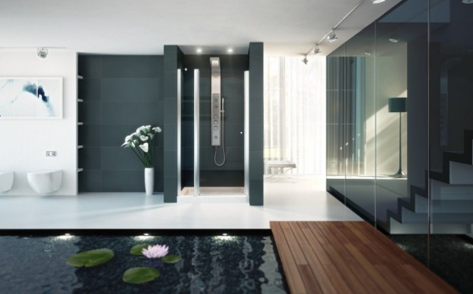 Light spilling into the loo blurs the boundaries between indoors and out.