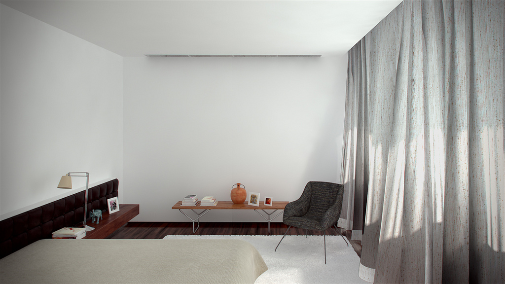 simple grey and white bedroom