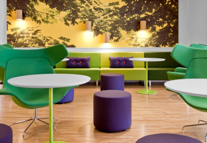 vibrant Skype offices lounge