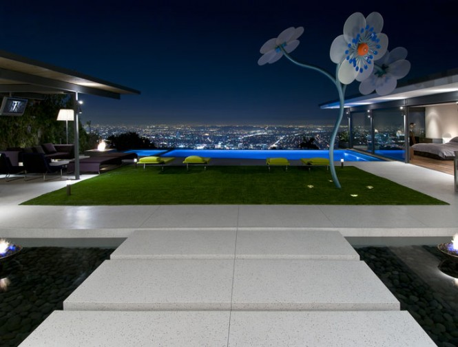 view of Los Angeles valley from illuminated poolside