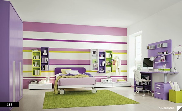 wall design generates large results in girls bedroom