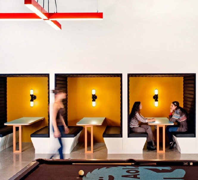 "O+A wanted to nurture ""collaborative space,"" so many spaces within the floor plan are designed such as these booths, to encourage collegiality, creativity, group brainstorming, and spontaneous ideas!"
