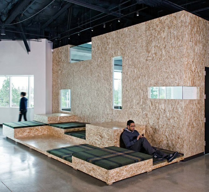 "An important theme Studio O+A brought to the design was ""transparency""--ceilings and walls were stripped down to expose their bases and original materials and structures. This was perhaps done on purpose to mimic AOL's business style of transparency."