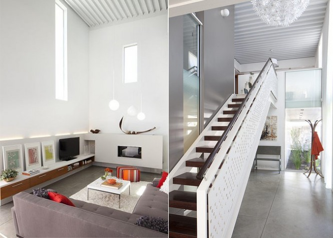 Projectors can play movies on the double-height walls of the ProtoHome.