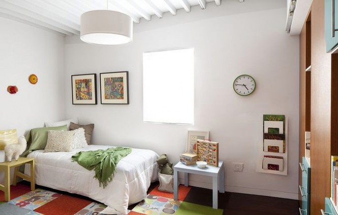 The interiors of the ProtoHome are designed simply and like this kid's room, encourage an excess-free lifestyle.