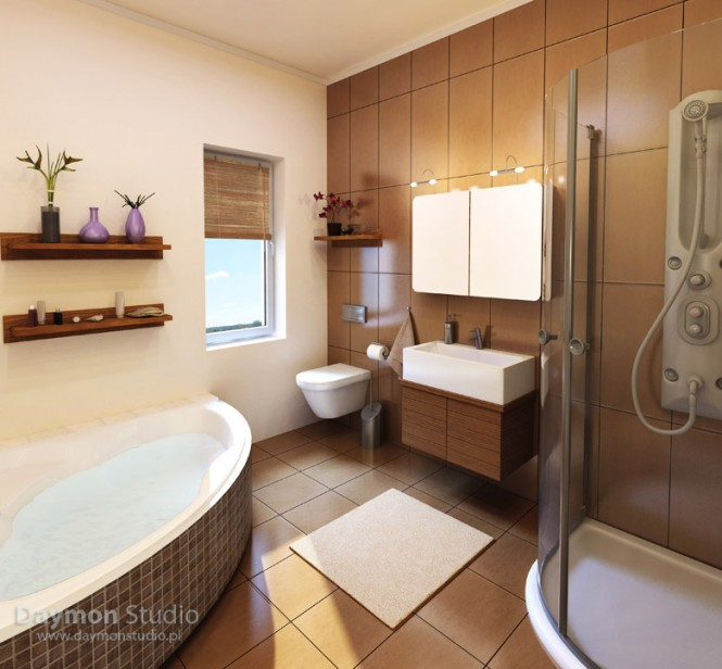 bathroom with wood and brown tiles