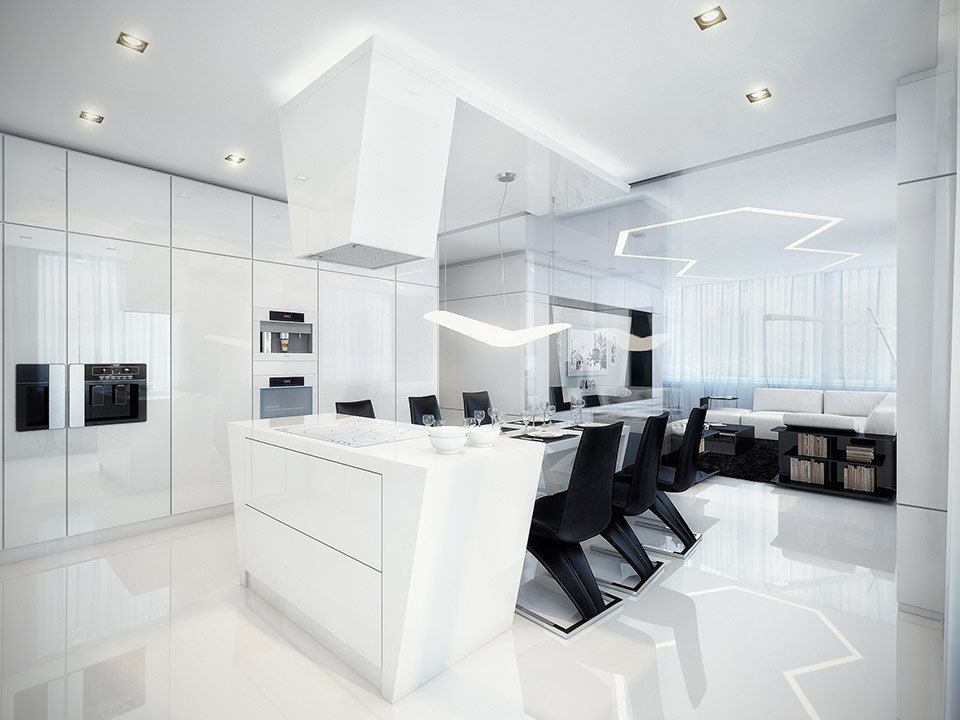 black and white dining room and kitchen