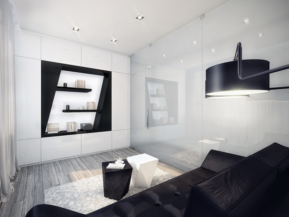 You will really relax in this simple, black and white, modern sitting area.