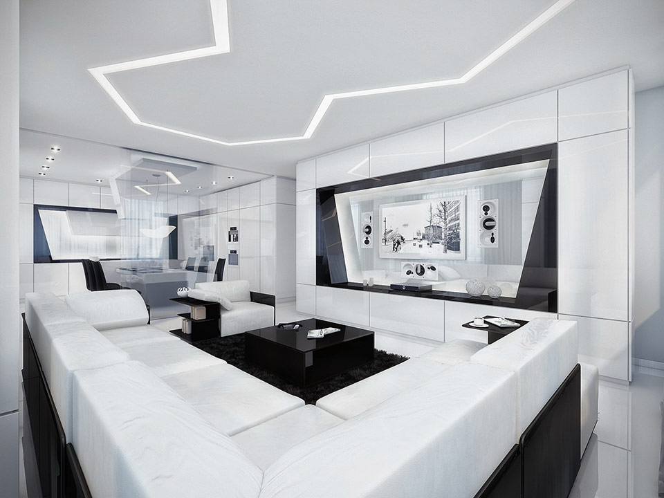 The ultimate living area, complete with a white leather, wraparound couch, fuzzy black carpeting, shiny black coffeetable, and huge-screen television.