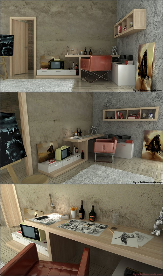 Here, Akcalar strips down the rustic design style to end up with a simple yet rugged artist's workspace.