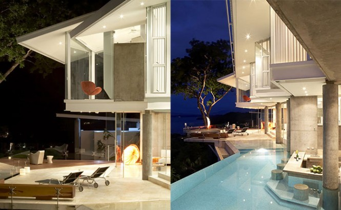 costa rica house with pool and marble patio