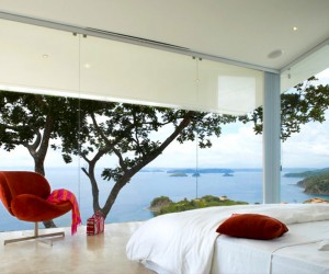 "A view from the glass paneled walls from the bedroom. Canas says you can ""see Nicaragua from the bed."""