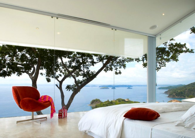 """A view from the glass paneled walls from the bedroom. Canas says you can """"see Nicaragua from the bed."""""""