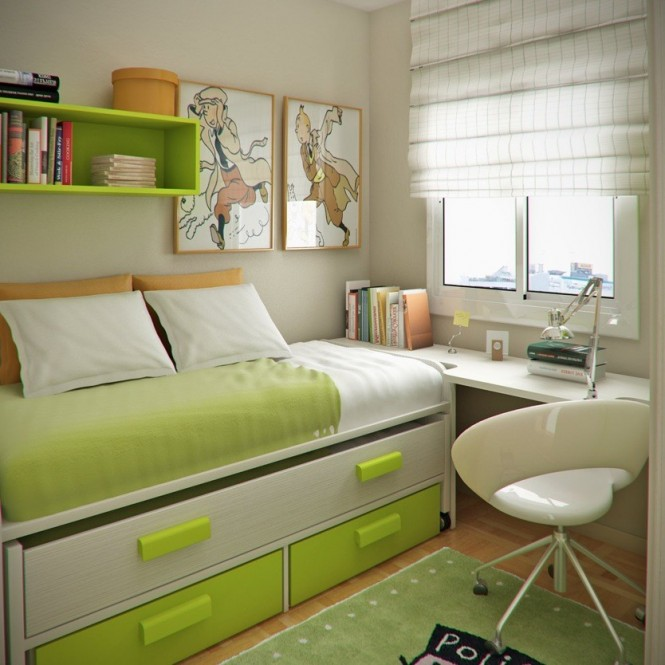 This kid's room maximizes space by attaching the desk to the bed area. The vibrant colors, perhaps an influence of Mengot's colorful city of residence, and natural light from the window, make it an encouraging and vibrant place for young minds to work.