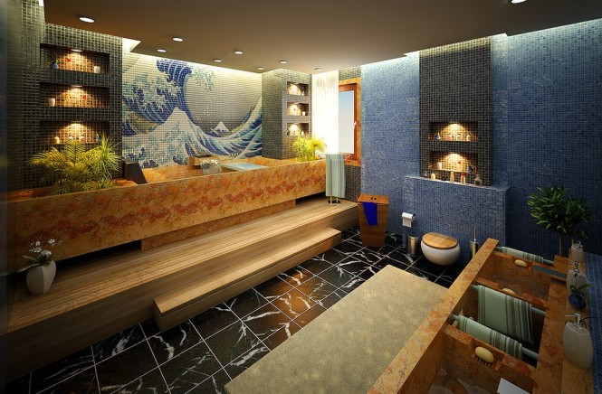 kanagawa print tiled bathroom