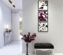 mod and classic hallway with purple accents