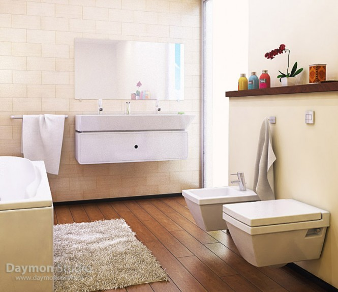 modern and practical beige bathroom
