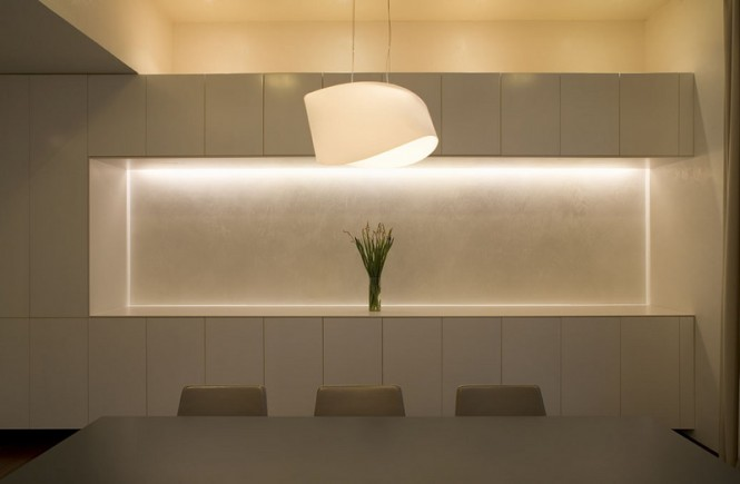 The severely simple dining area offers the opportunity for tranquil evening meals.