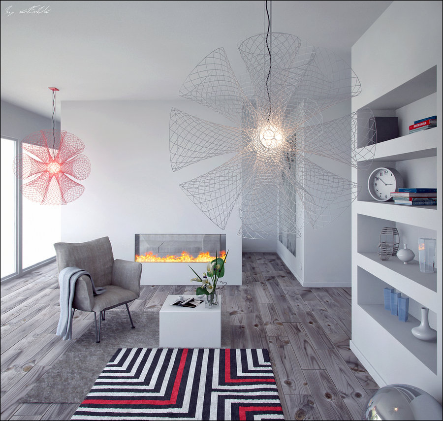 This room is equal parts soothing and relaxing, equal parts funky, with its overwhelming use of grey, but with spurts of red in the carpet and light fixture.