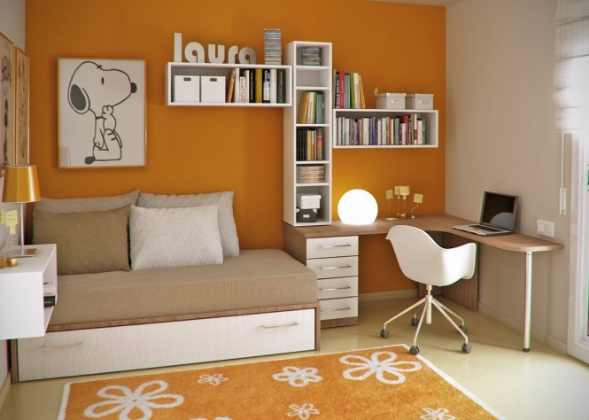 This fun and brightly-colored workspace will definitely strengthen a creative drive and make this a fun space to work in.