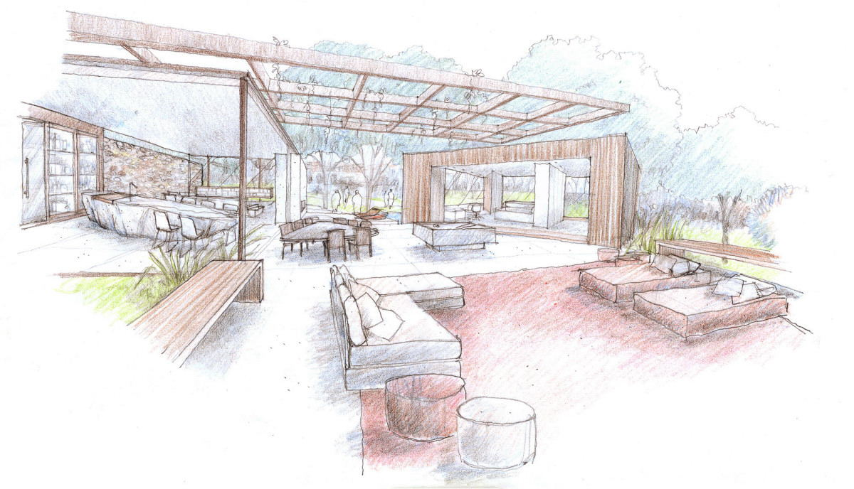 Outdoor indoor house sketch Indoor outdoor interior design