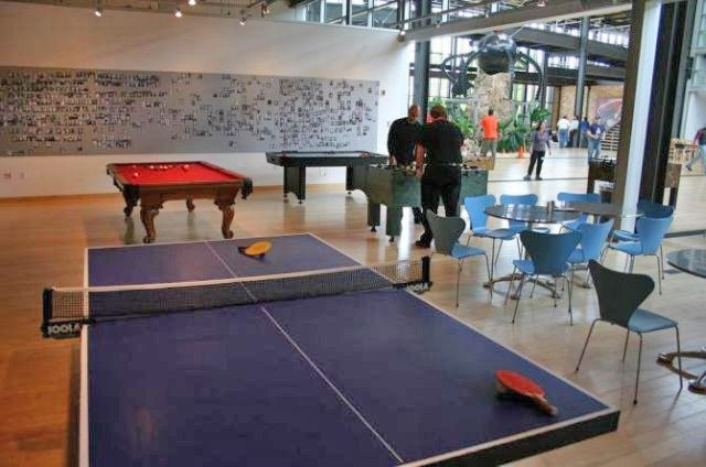 I can also play some ping pong in the game room.