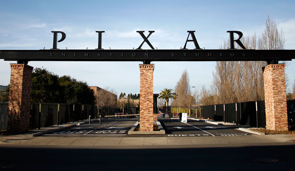 It's a beautiful morning and as I'm driving in to the studio for my amazing animation job, I am met by a huge arch that reads, Pixar Studios...