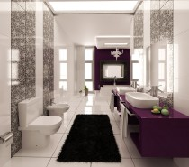purple black and white graphic print bathroom