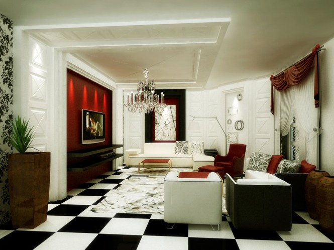 The pops of red offer life to the black and white dynamics of this living area, and the black and white checkerboard plays nicely alongside the black and white floral graphic print on the walls.