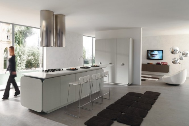 ultra modern kitchen living