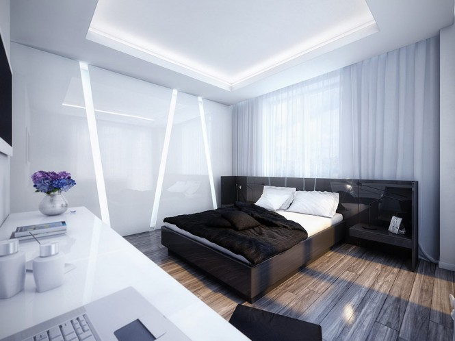 A modern yet relaxing bedroom with wood floors and interesting lighting on the walls and ceiling.