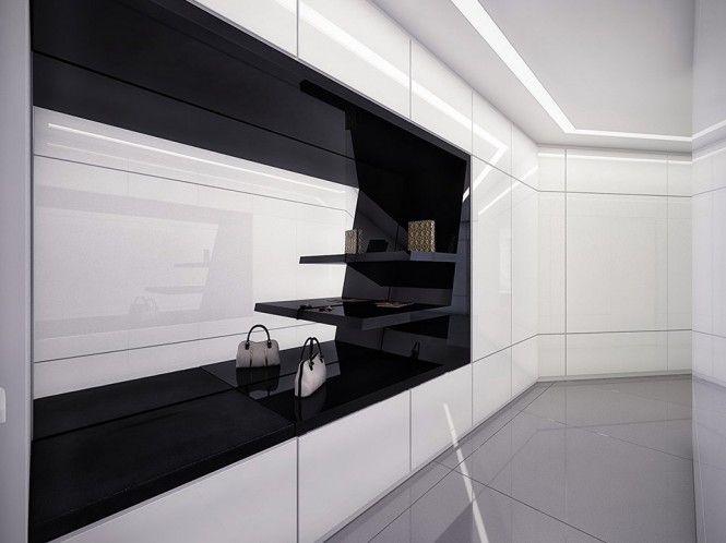 A completely modern, black and white walk-in closet.