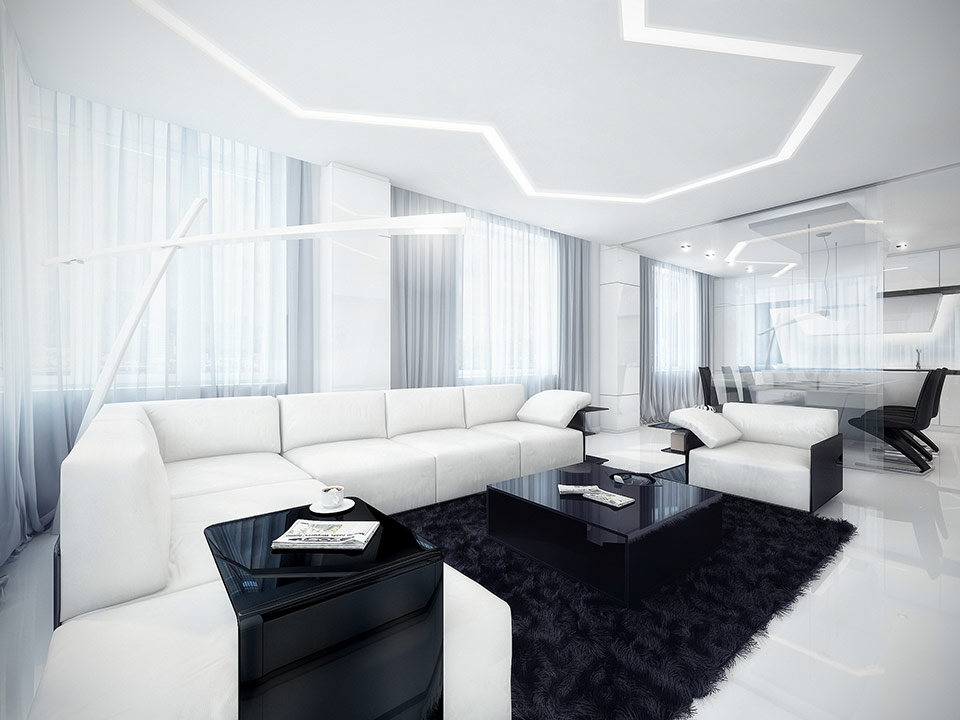 A highlighted zagging line on the ceiling lights up this black and white modern living area.